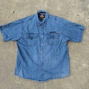 Harley Davidson Men's Button Up Denim Shirt XL